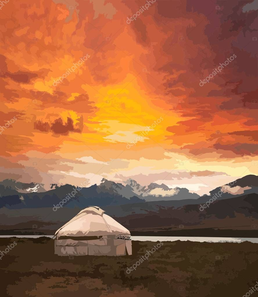 View of Mongolia. Yurts traditional Mongolian dwellings in Mongolian steppe. Mountains on background. Travel sketch. Brush pen graphic art. Hand drawn vintage book illustration, postcard. Vector