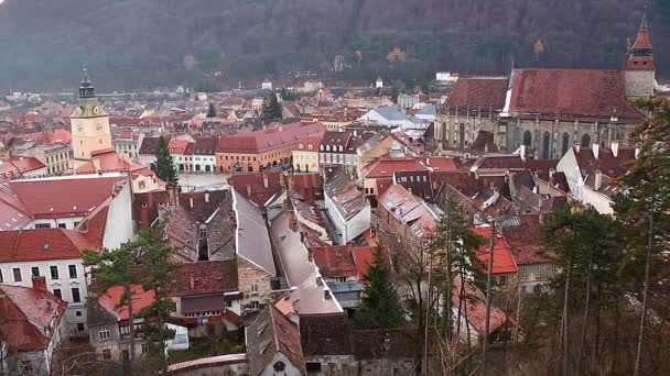 Brasov downtown, black church, medieval town up view