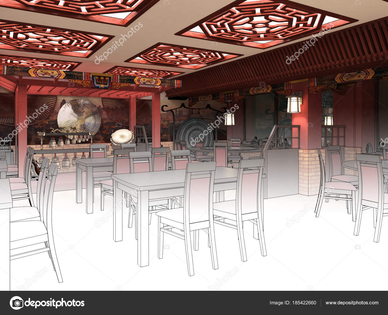 Chinese Restaurant Design Render Black And White Sketch Of The Chinese Restaurant Interior Design Stock Photo C Wassiliy 185422660