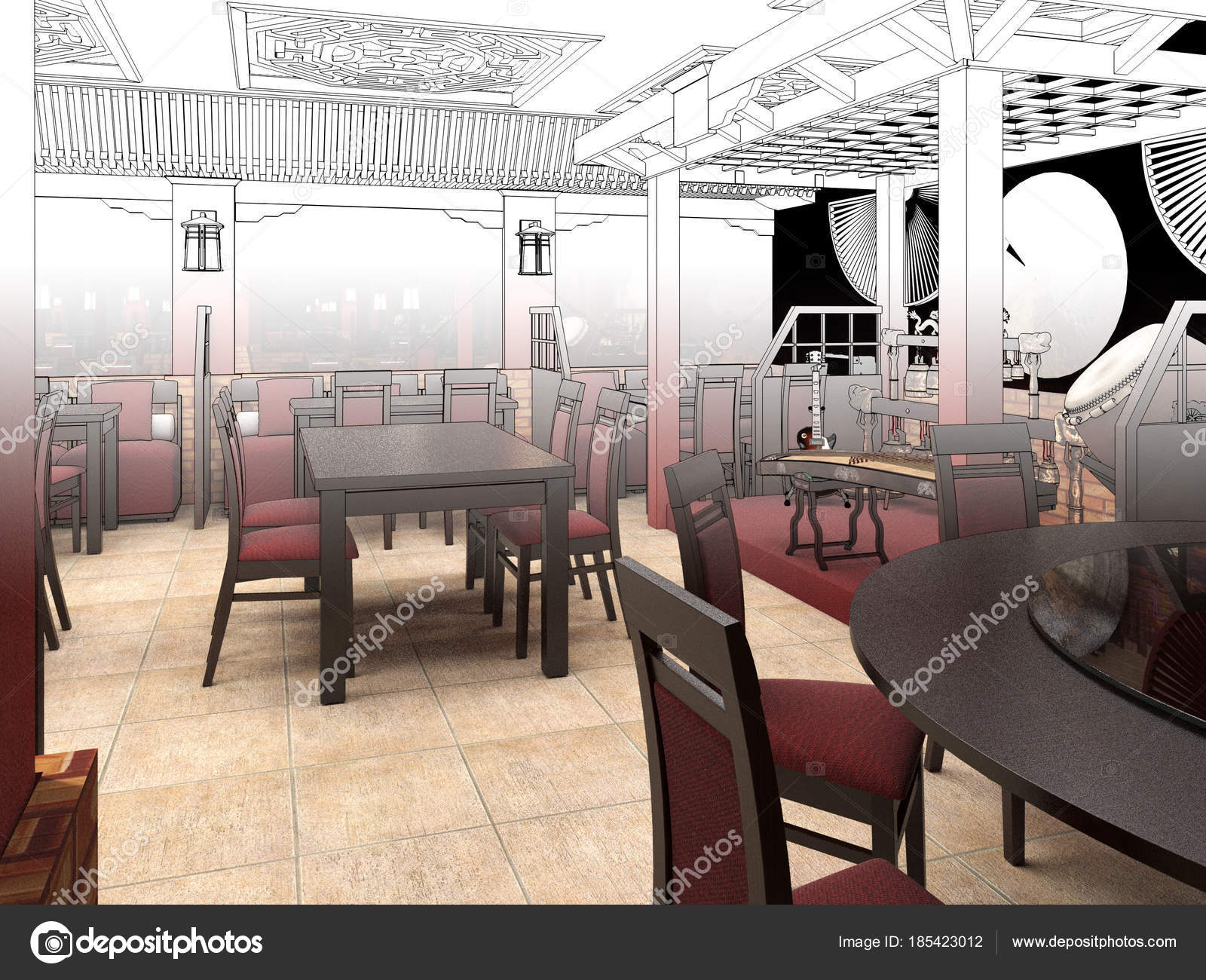 Chinese Restaurant Interiors Render Black And White Sketch Of The Chinese Restaurant Interior Design Stock Photo C Wassiliy 185423012