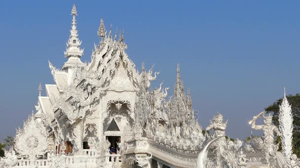 Buddhist White Temple Entrance Chiang Rai Thailand 4k