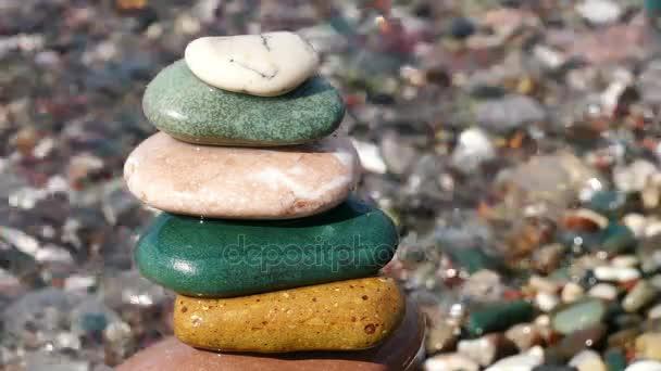 Stones Balance Sea Wave Surf 4k