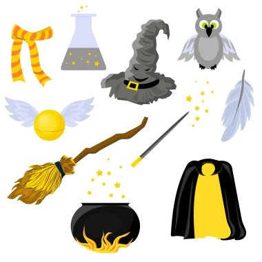 Set of stickers on the theme of Harry Potter and Magic. Hogwarts. School of magic. Mantle of Invisibility..