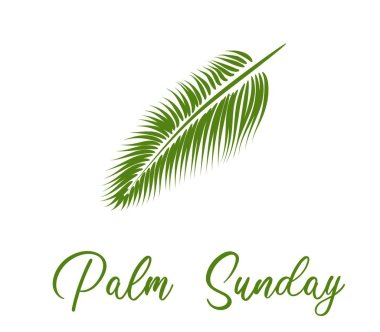 Palm Sunday. The week before Easter. banner or card. palm leaf.