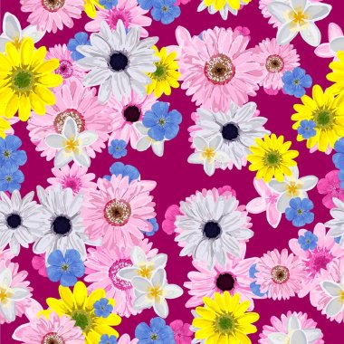SEAMLESS FLOWER PATTERN. Realistic flowers. Spring bright colors..