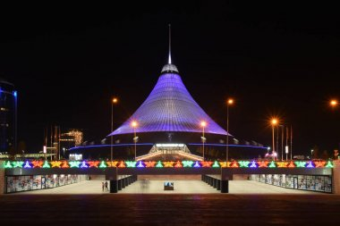 Night view in Astana, capital of Kazakhstan, host of the EXPO 2017