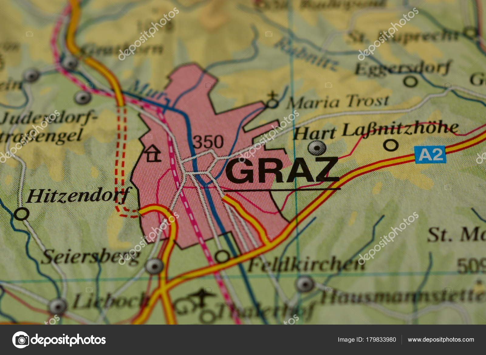 Karte Graz.Stadt Name Graz Auf Der Karte Redaktionelles Stockfoto