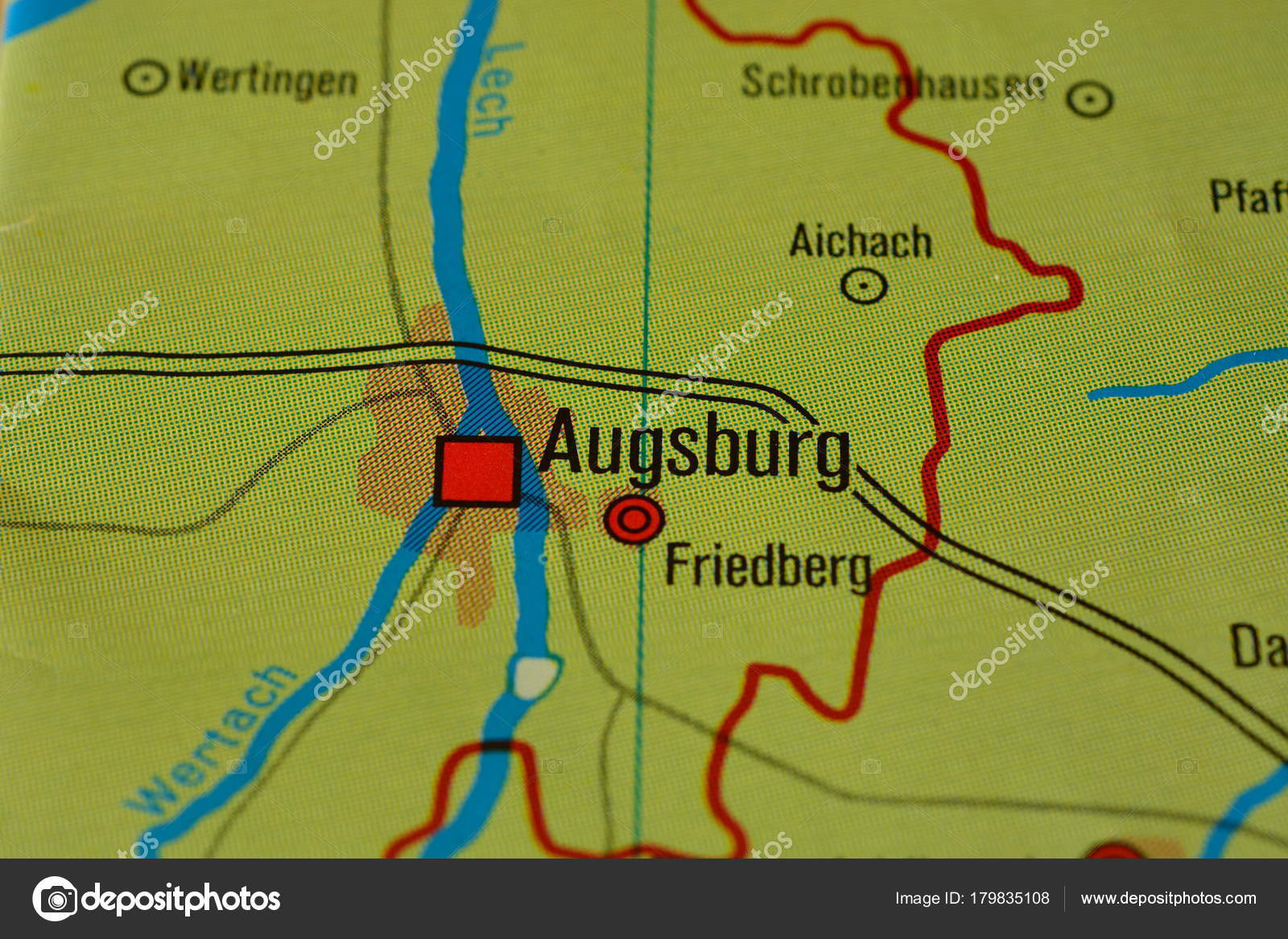 City Name Augsburg Bavaria Germany Map – Stock Editorial Photo ...