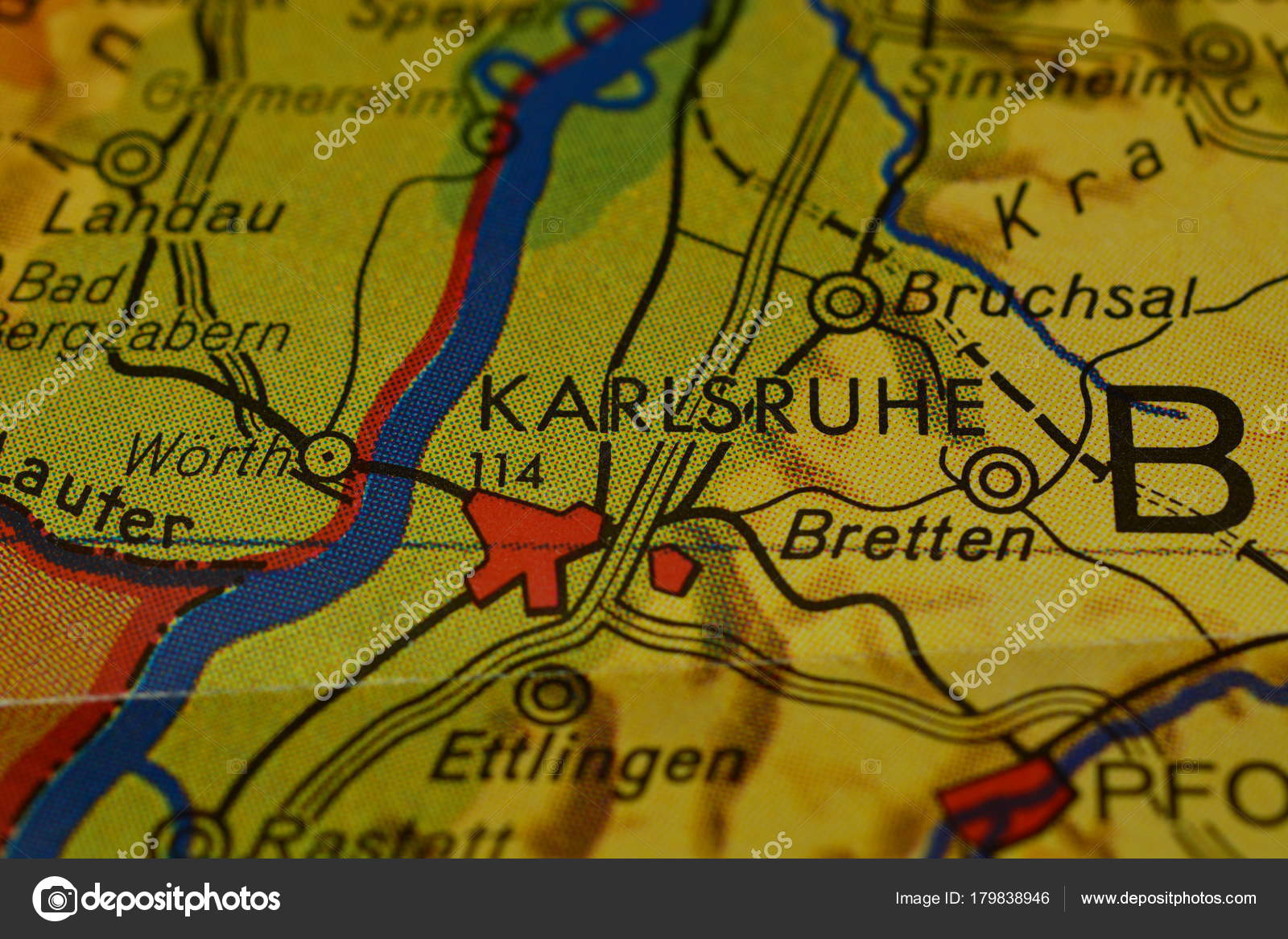 City Name Karlsruhe Map Stock Photo photographer20 179838946