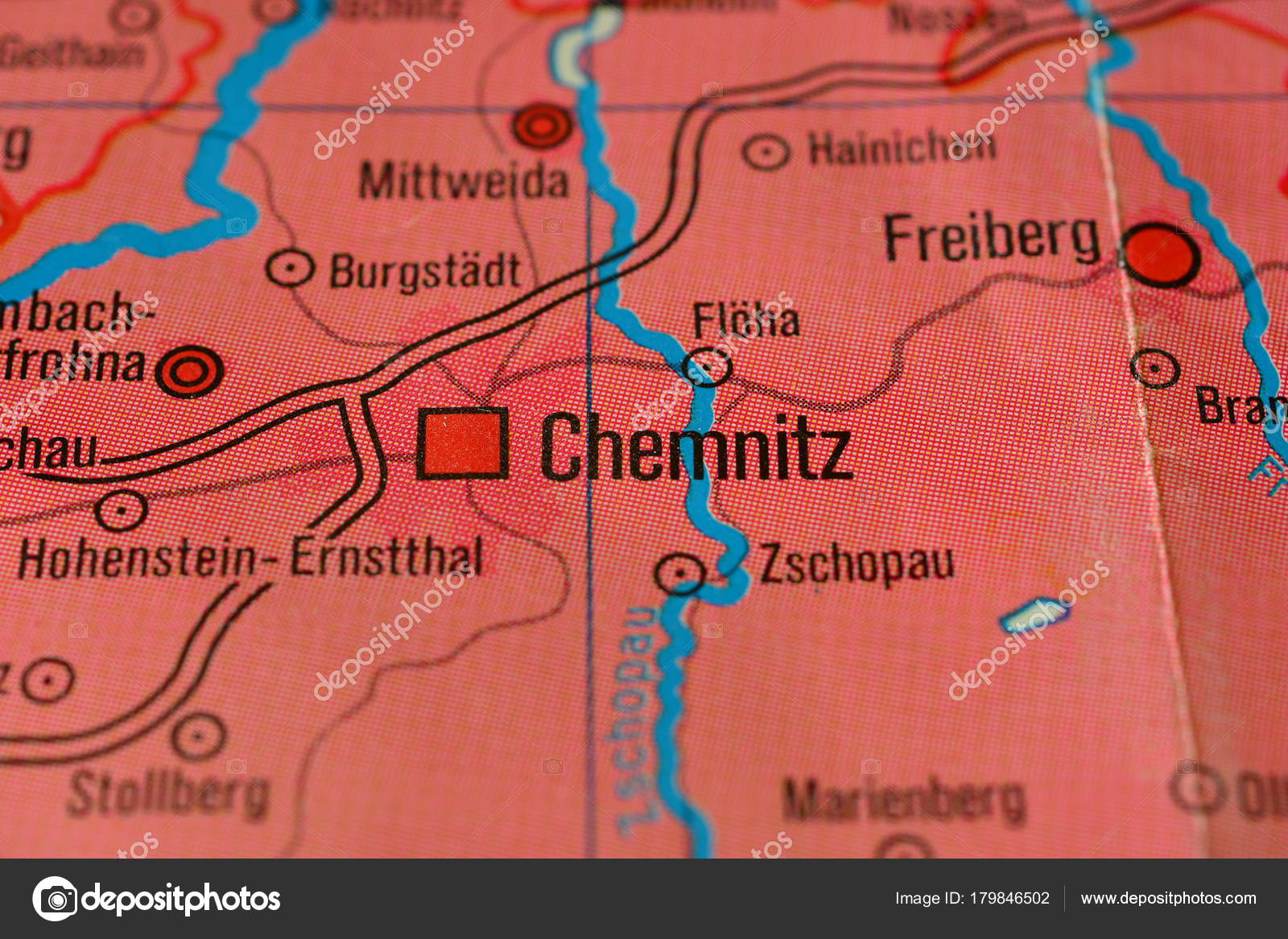 Chemnitz Karte.Stadt Name Chemnitz Auf Der Karte Stockfoto C Photographer