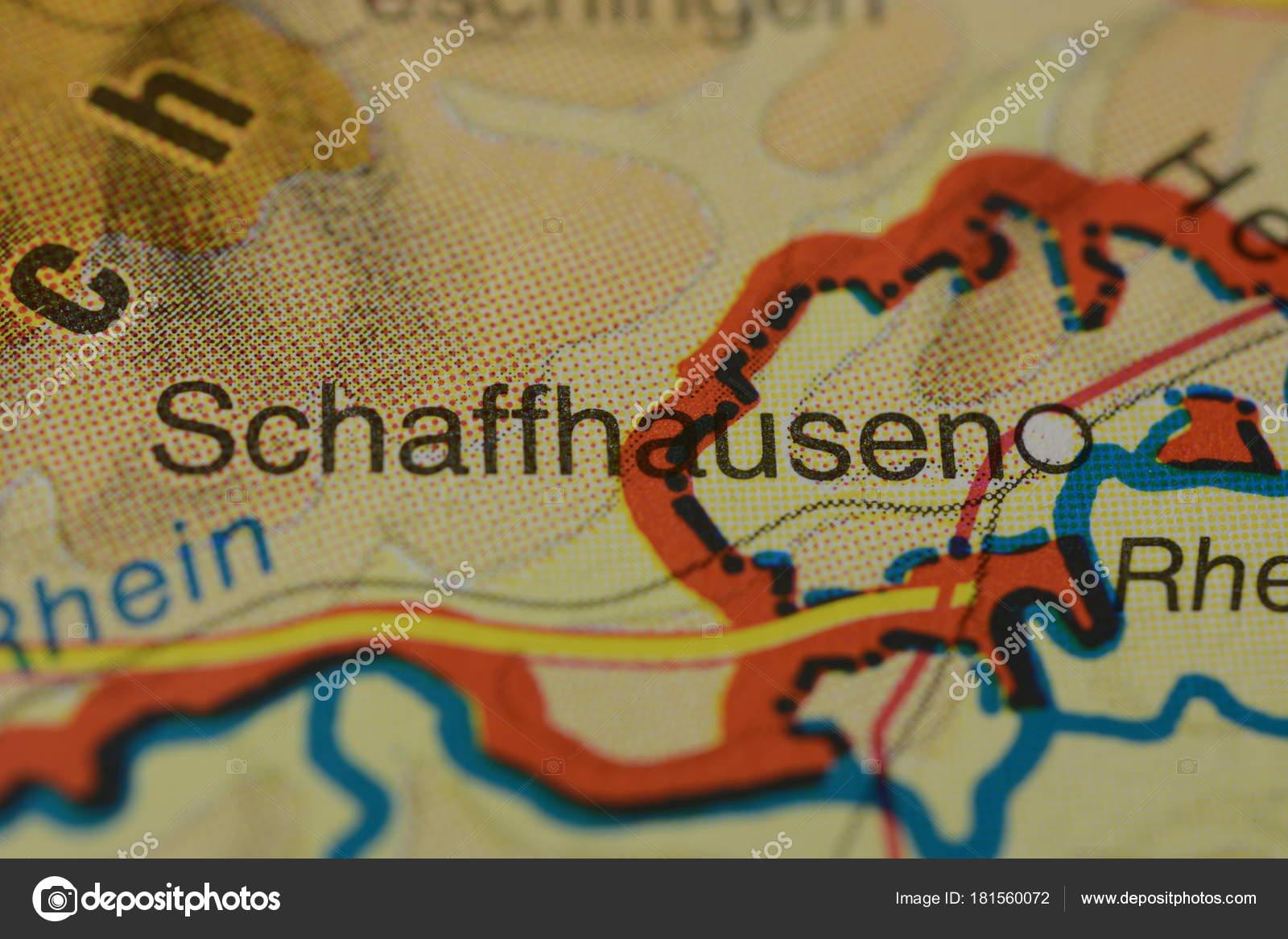 City Name Schaffhausen Switzerland Map Stock Photo photographer