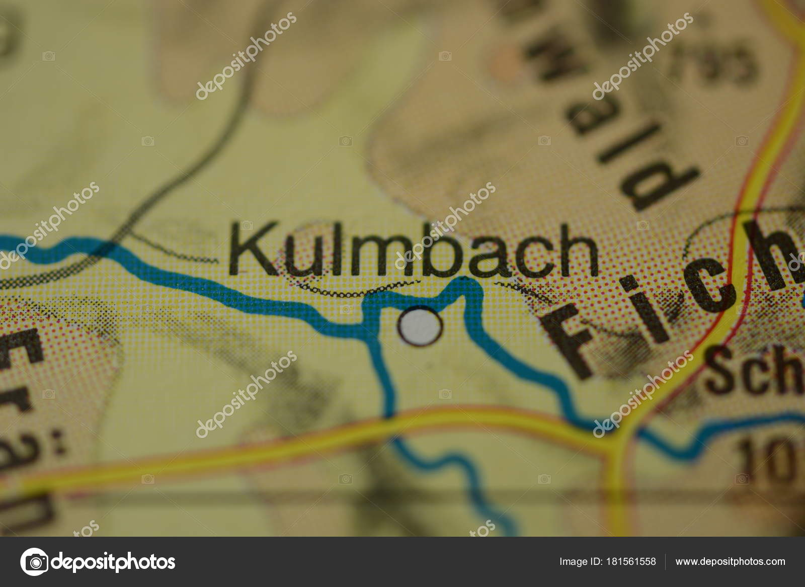 Plaatsnaam Kulmbach Beieren Duitsland Kaart Stockfoto