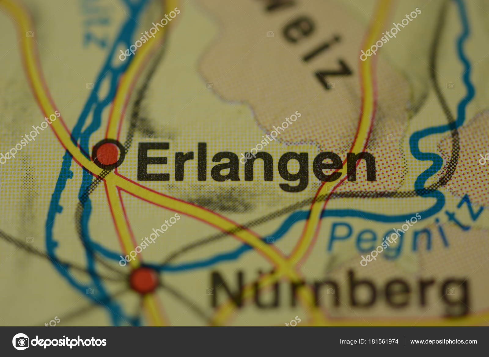 Map Of Germany Nuremberg.City Name Erlangen Nuremberg Germany Map Stock Photo