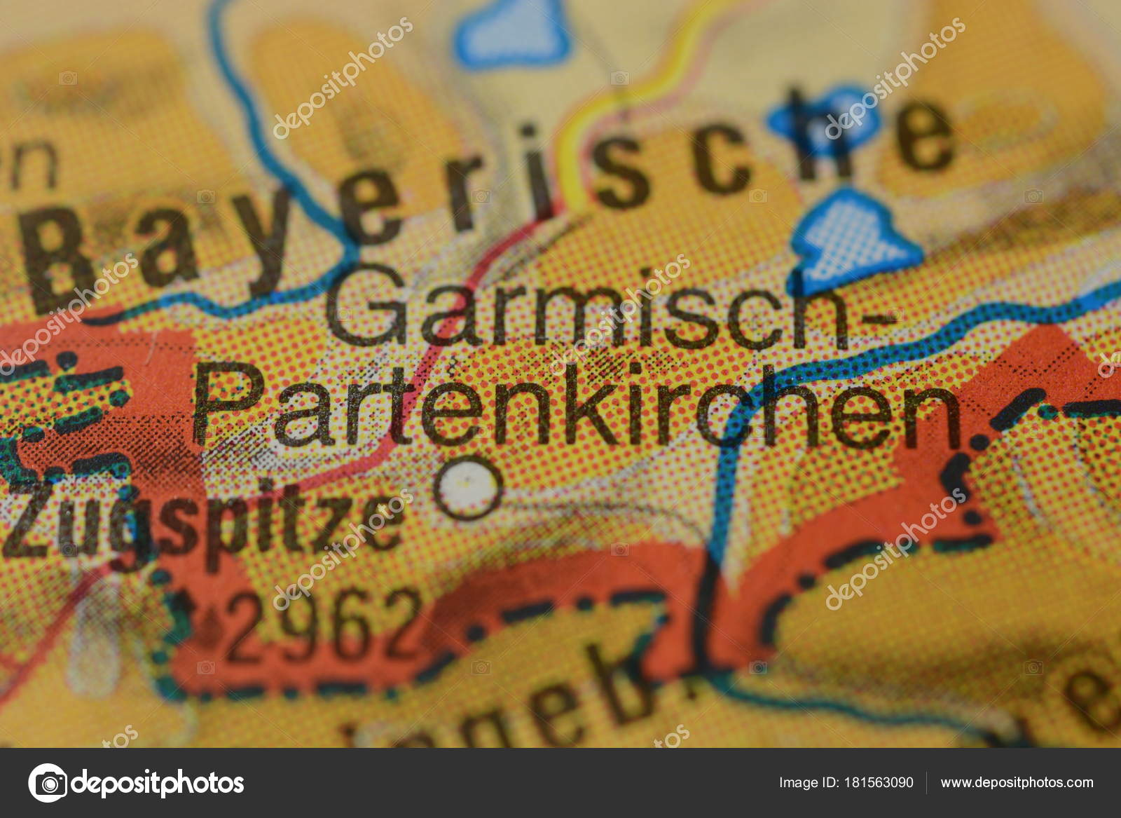 City Name Garmisch Partenkirchen Germany Map Stock Photo