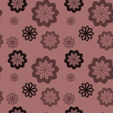 Seamless repeat pattern with black, brown and light brown flower