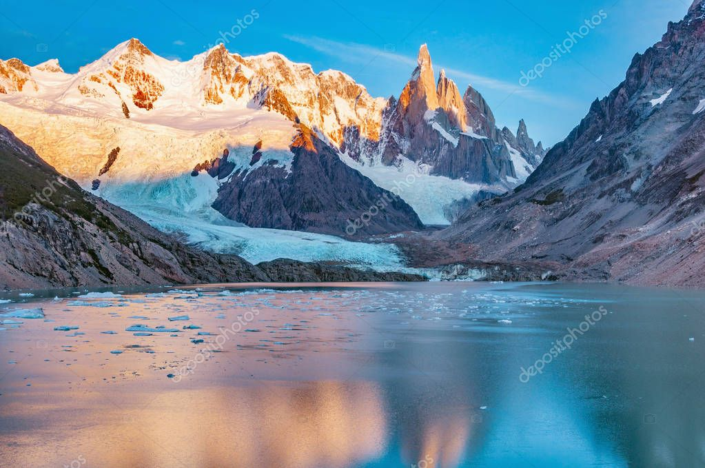 Amazing sunrise view of Cerro Torre mountain by the lake. Los Glaciares National park. Argentina.