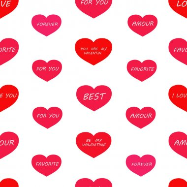 Seamless pattern: red and pink hearts with the words on a white background. Packing for Valentine's Day. vector. illustration icon