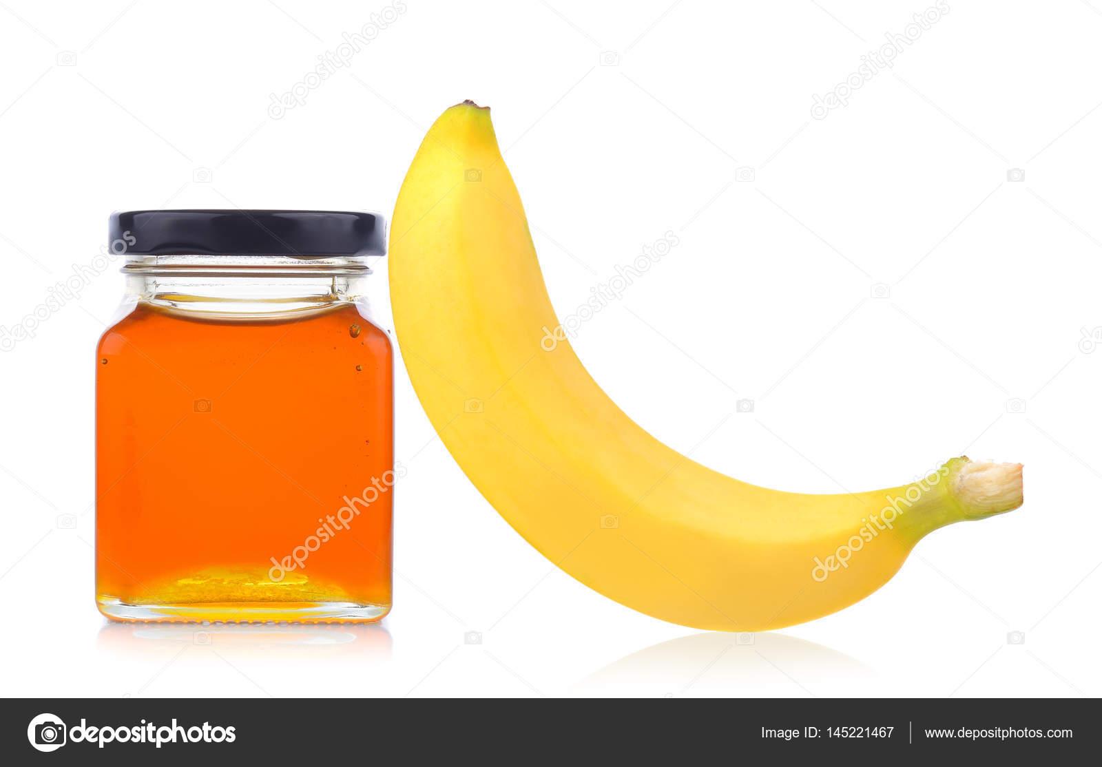 pot de miel et bananier sur fond blanc — photographie sommaill