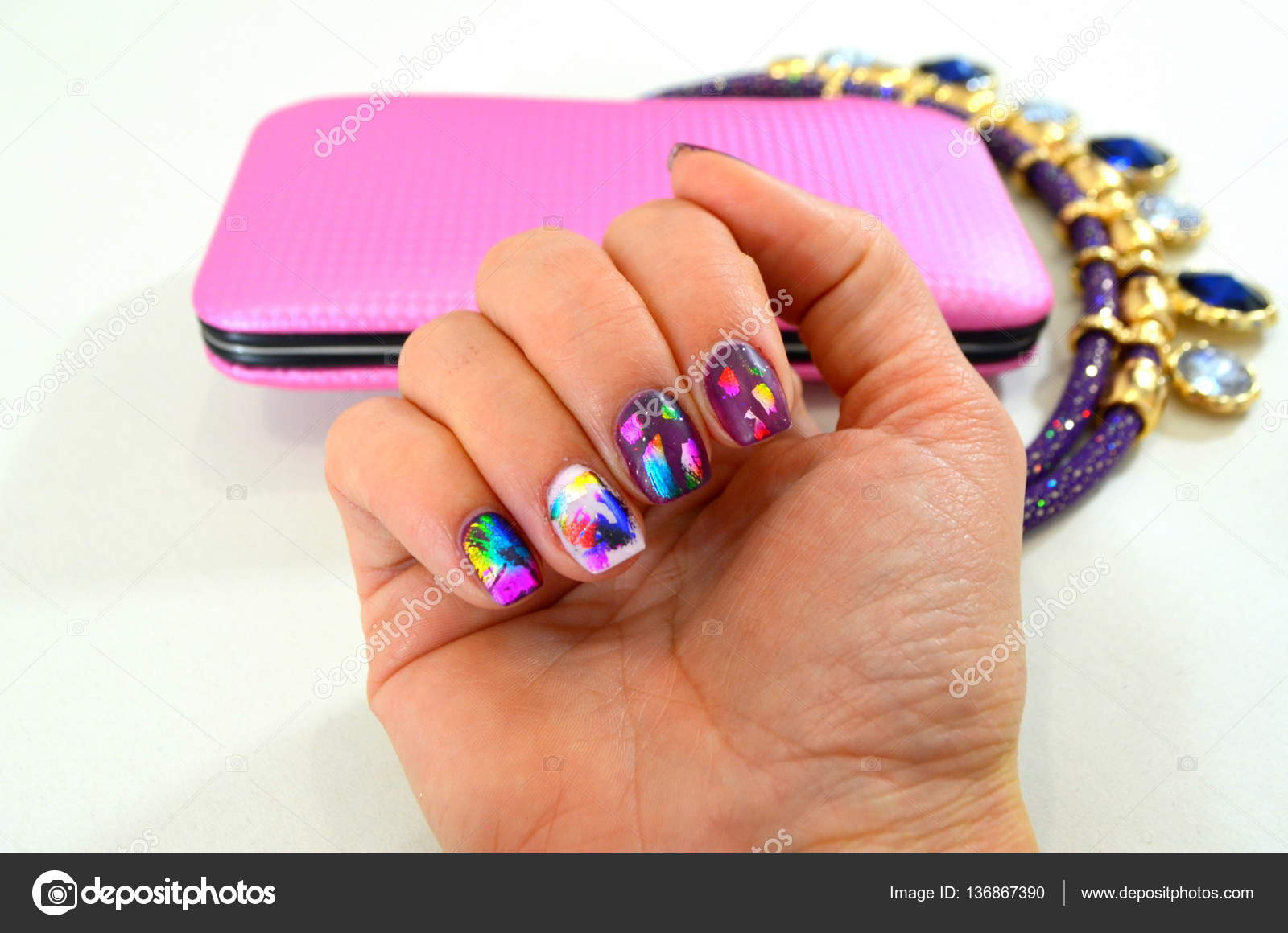 Manicure, nail gel with foil in matt top — Stock Photo © YuliyaM ...