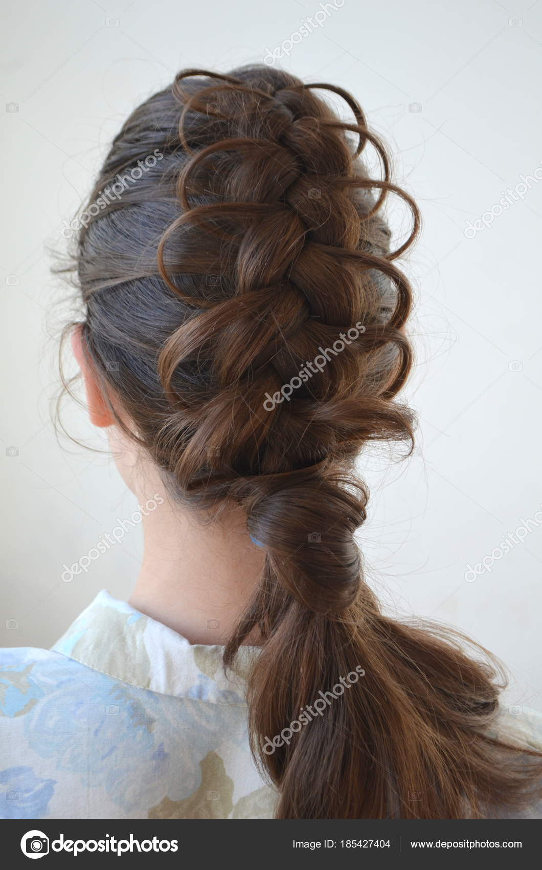 Openwork French Braid Hairstyle Medium Length Mastery Weaving Hair Stock Photo C Yuliyam 185427404