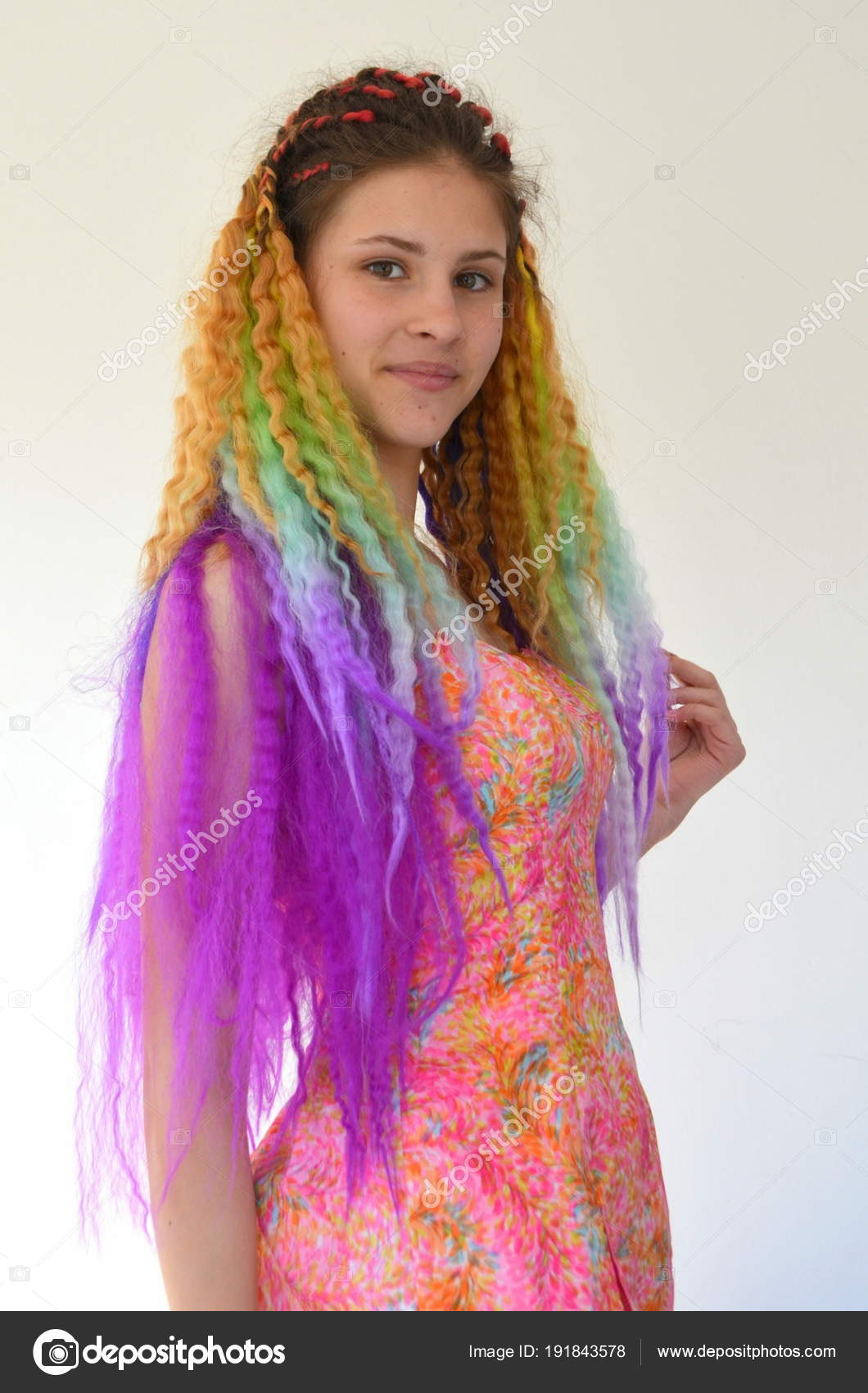 Bright Stylish Image Girl Purple Hair Technique Hair Extensions