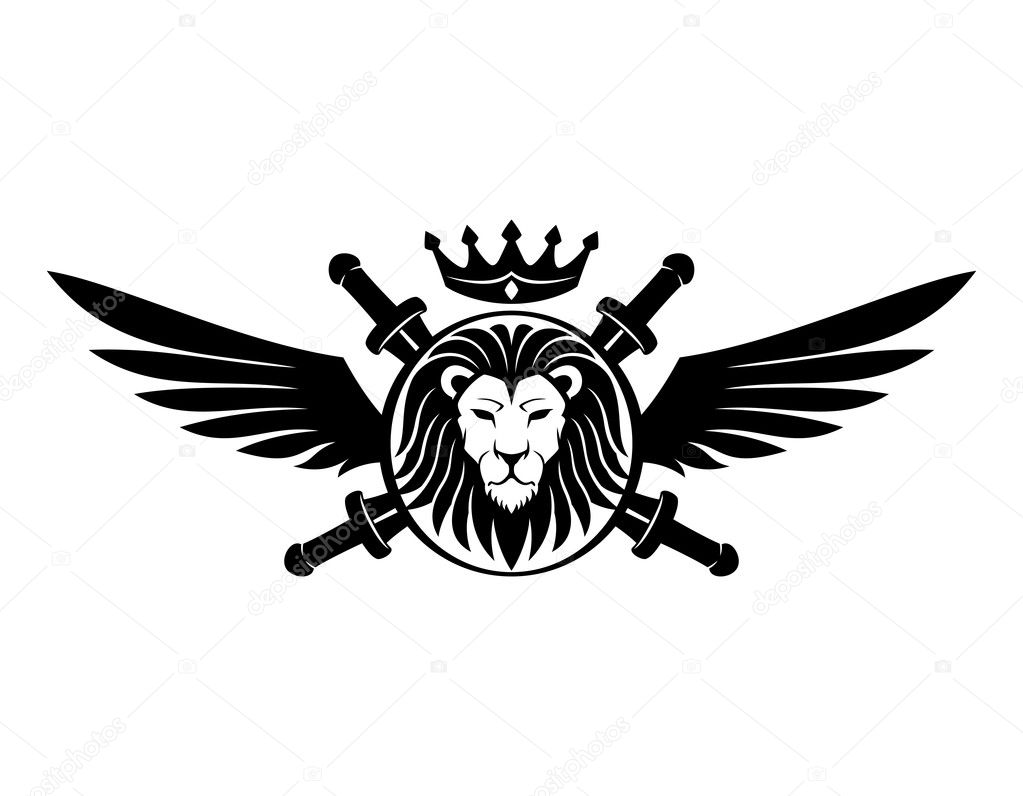 Shield With Lion Head Swords Wings And Crown Vector By Taronin