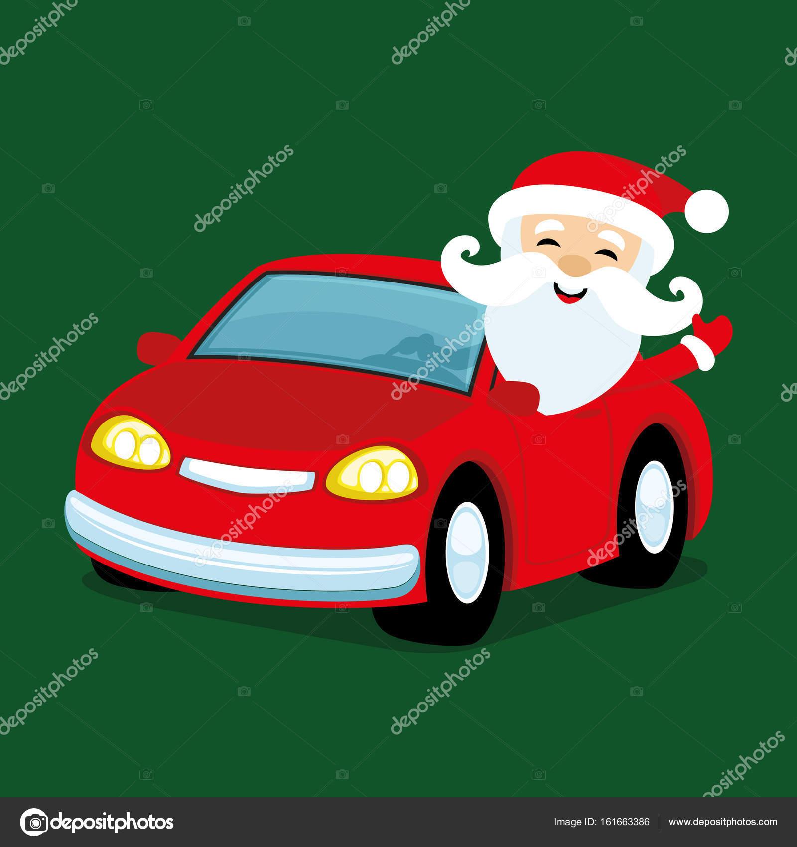 Weihnachtsmann Im Roten Auto Stockvektor C Taronin 161663386