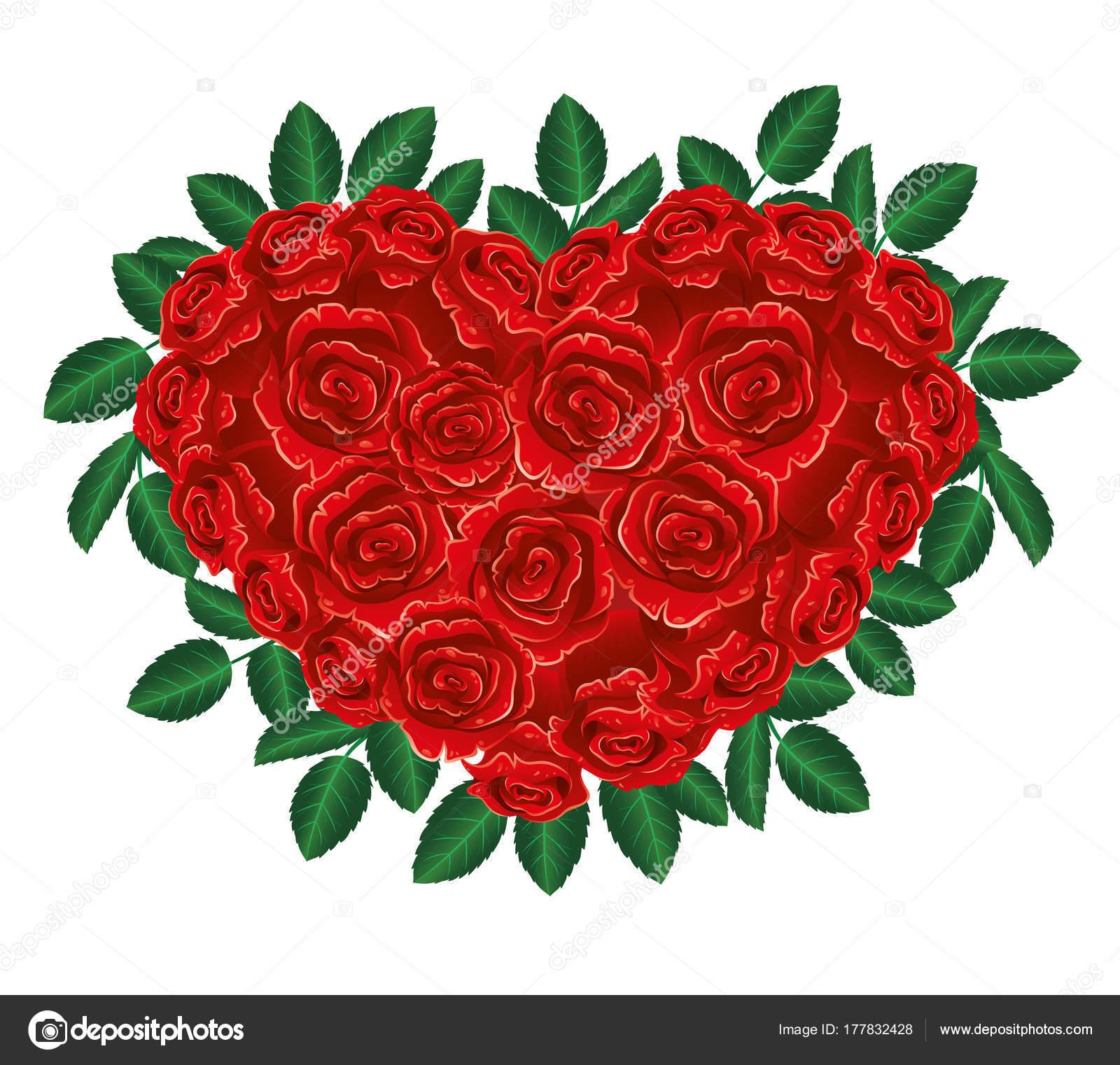 Bouquet Roses Rouges Forme Coeur Image Vectorielle Taronin