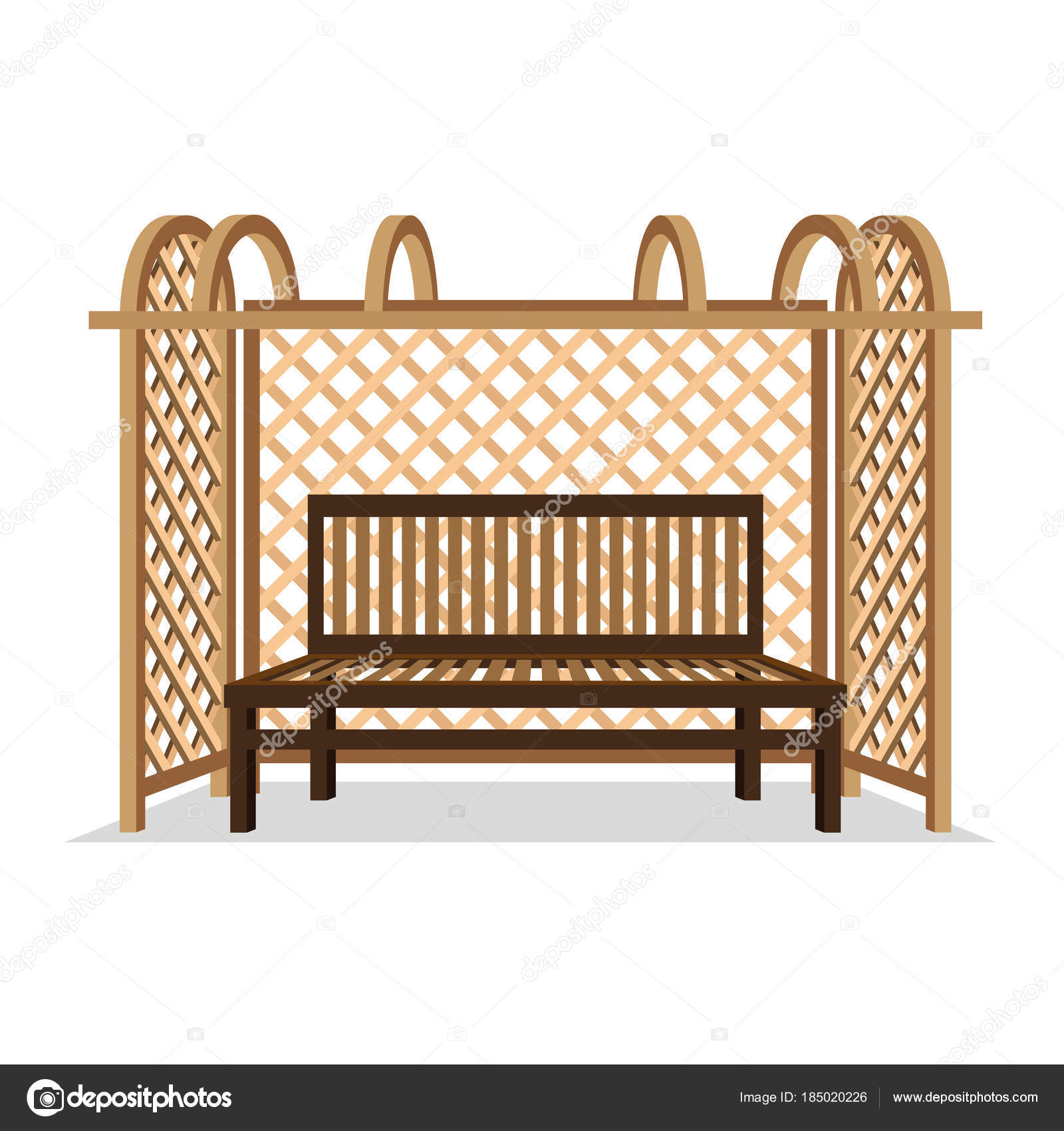 Brilliant Wooden Bench Pergola White Background Stock Vector Forskolin Free Trial Chair Design Images Forskolin Free Trialorg