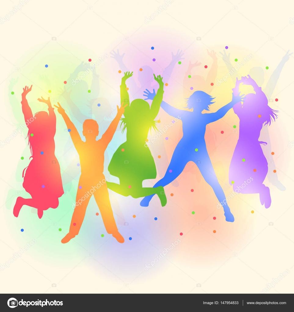 siluetas de ni u00f1os bailando vector de stock  u00a9 format35 dancing clipart free animated dancing clip art black and white