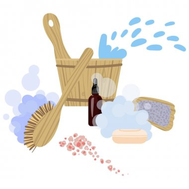 Picture with attributes and details for sauna bath. Vector.