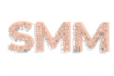Vector creative illustration of SMM word lettering typography with line icons on white background. Social media marketing concept. icon