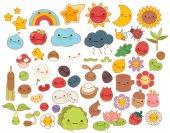 Fényképek Belenyi erdő természetvédelmi gyűjteménye doodle karakter ikon, aranyos csillag, aranyos virág, édes gyümölcs, kawaii szivárvány, csaj bug, gyermeki manga rajzfilm stílusú képregény Alma