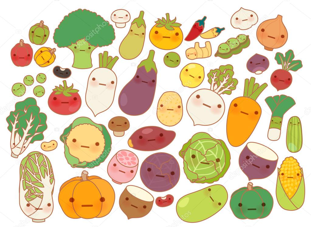 Collection of lovely fruit and vegetable icon , cute carrot , adorable turnip , sweet tomato , kawaii potato, girly corn Isolated on white in childlike manga cartoon style