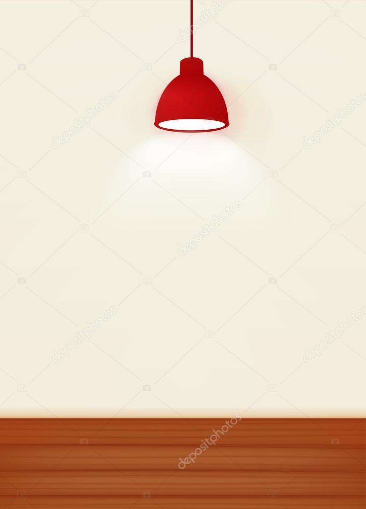 Illustration Du Mur Blanc éclairé Par La Lampe De Plafond Rouge Avec