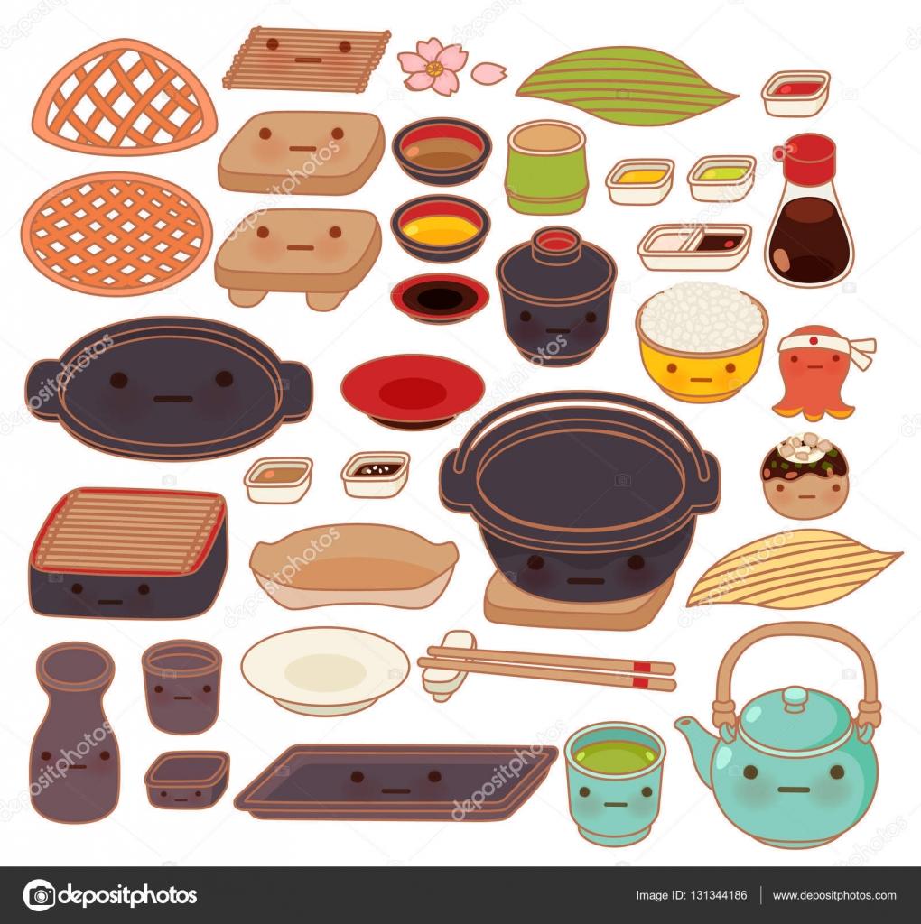 Sistema de la colecci n de utensilios de cocina japonesa for Utensilios de cocina antiguos con nombres