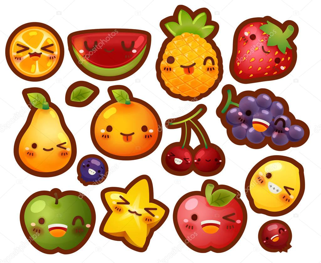 Collection of lovely baby fruit doodle icon, cute strawberry, ad