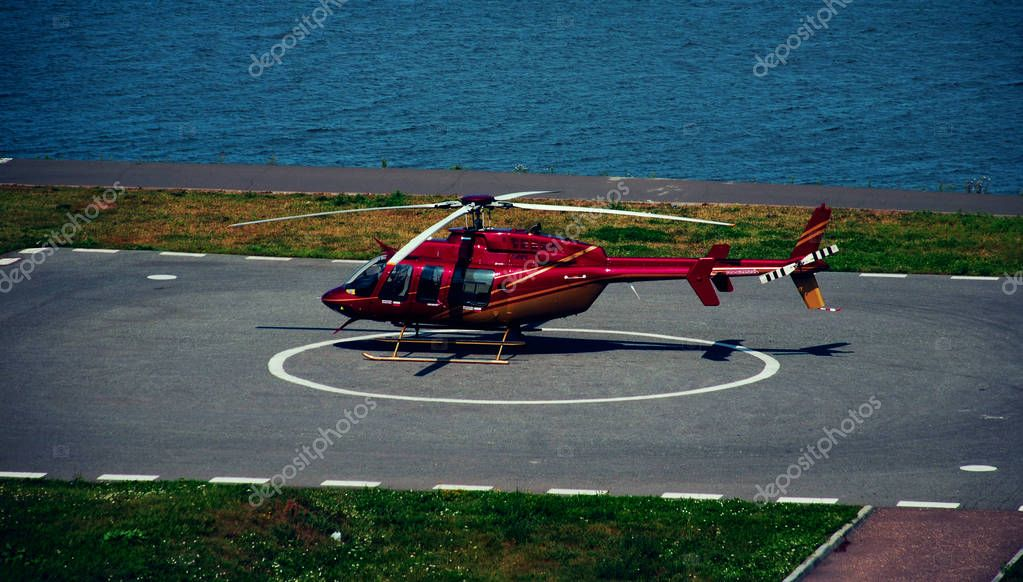 Red helicopter,Air Vehicle, Airplane, Circle, Flying, Helicopter