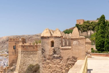 Interior of the Alcazaba of Almeria (Muslim fortification) in summer with blue sky. Almeria, Andalusia, Spain