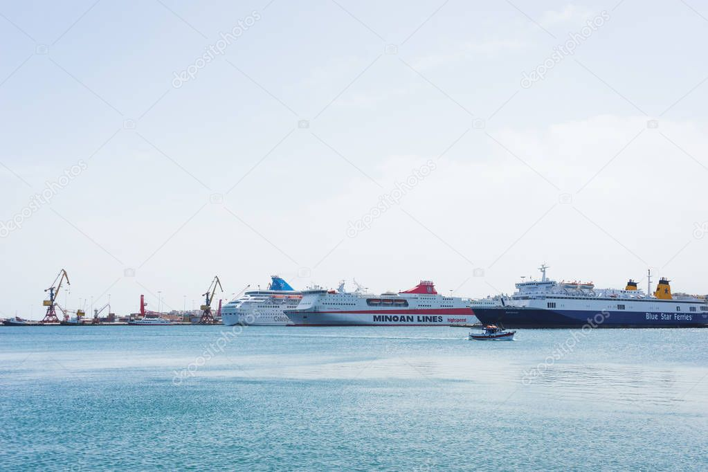 Greece, Athens, April 2018. Sea port of Heraklion, sea cruise liners at the pier.