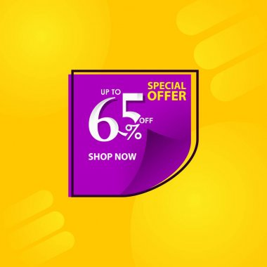 Discount Label up to 65% of Special Offer, Shop Now Vector Template Design Illustration