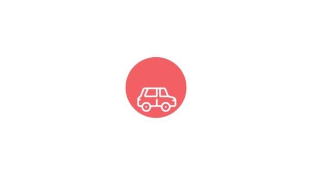 Animation des Autos mit Wifi-Verbindung. Isoliert auf weißem Hintergrund.
