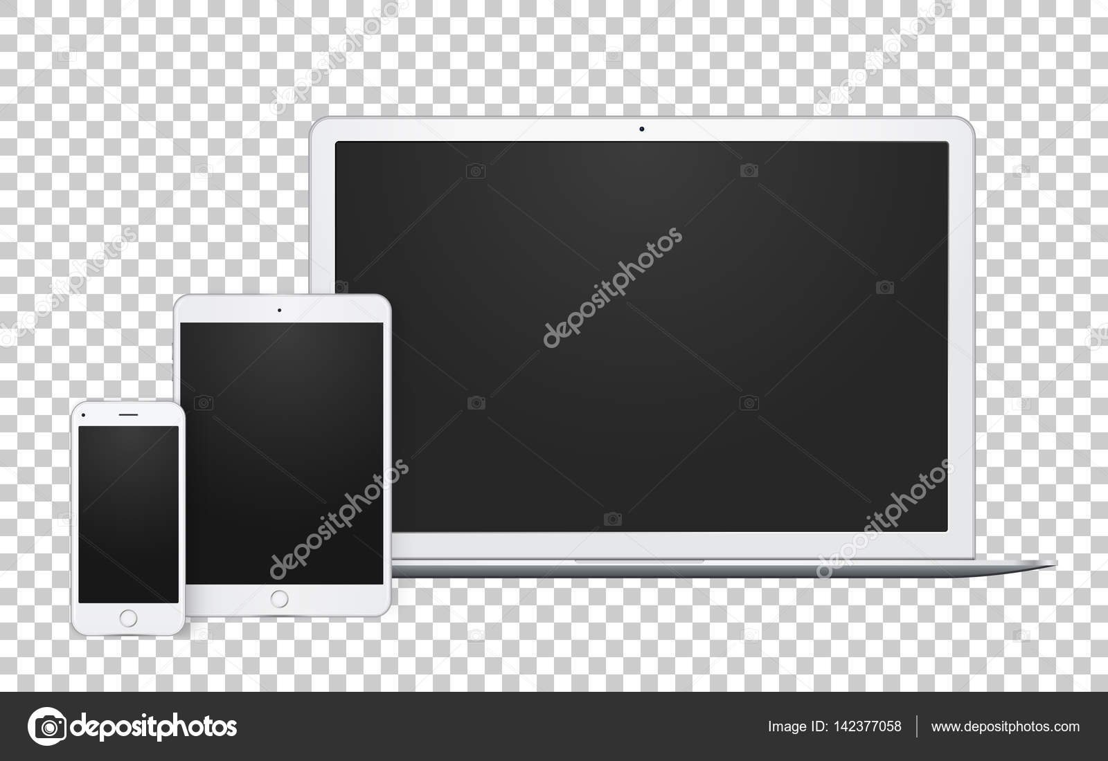 realistic set of gadgets open laptop phone template and pad mock
