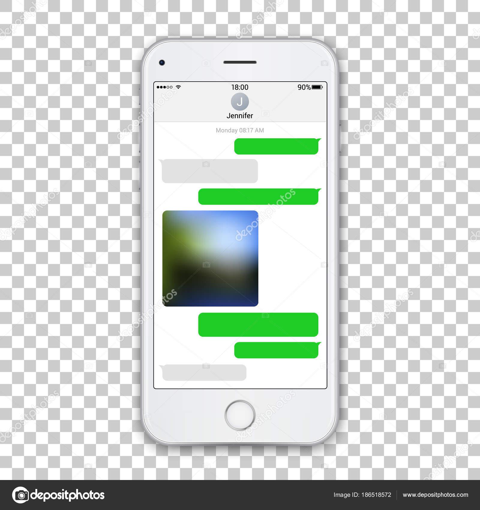 Plantilla realista teléfono blanco con messenger chat verde en la ...