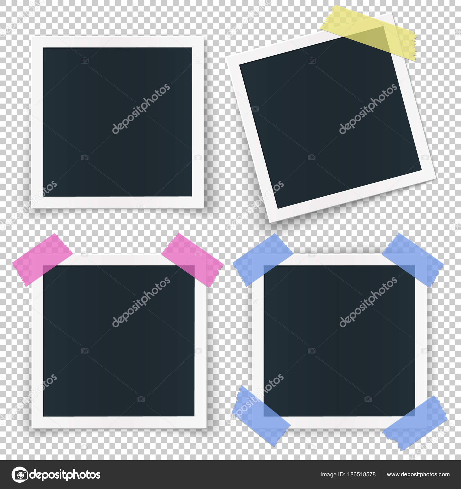 Set Of 4 Photo Frames Stickied With Colored Transparent Tape Pieces