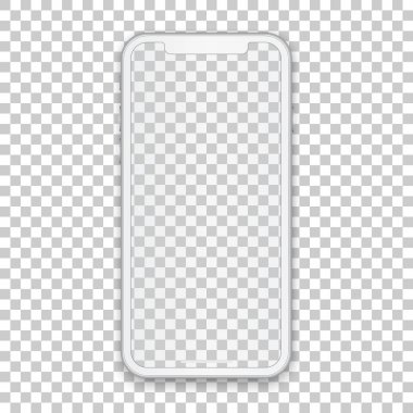 White mobile concept with empty screen for any application design and backdrop, phone template isolated on transparent background. High quality vector illustration. clip art vector
