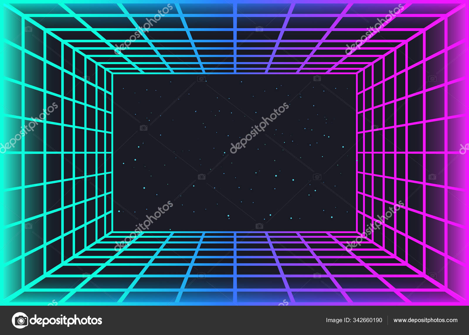 Vaporwave Retro Futuristic Background Abstract Laser Grid Tunnel