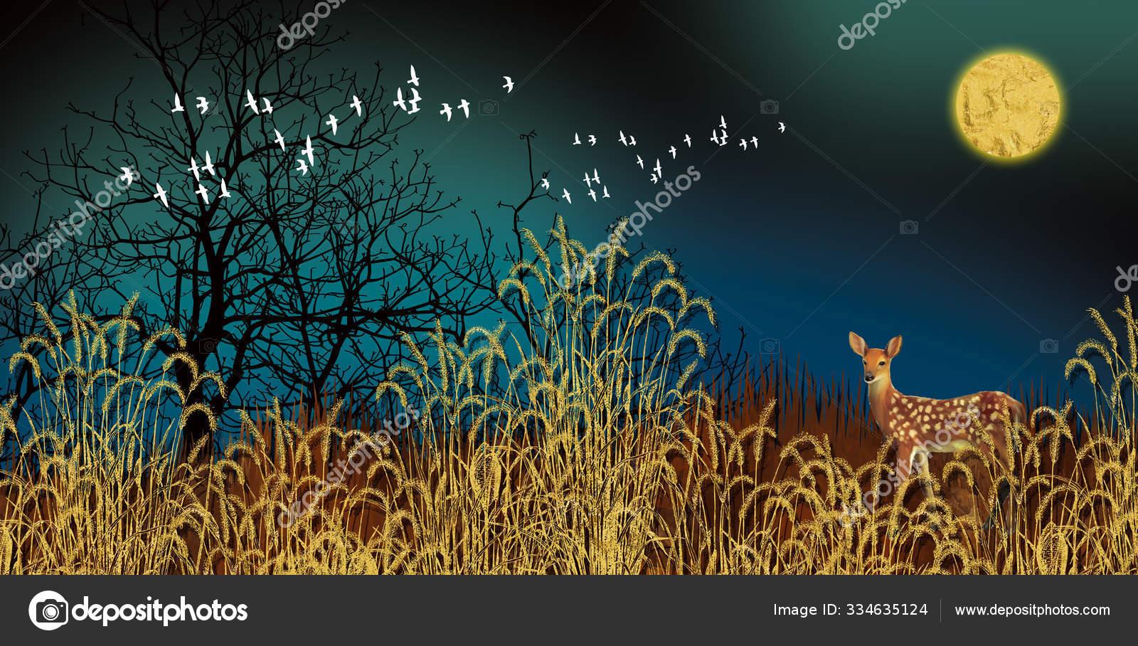 Modern Art Mural Wallpaper Dark Blue Jungle Forest Background Golden Stock Photo Image By C Mosamem 334635124