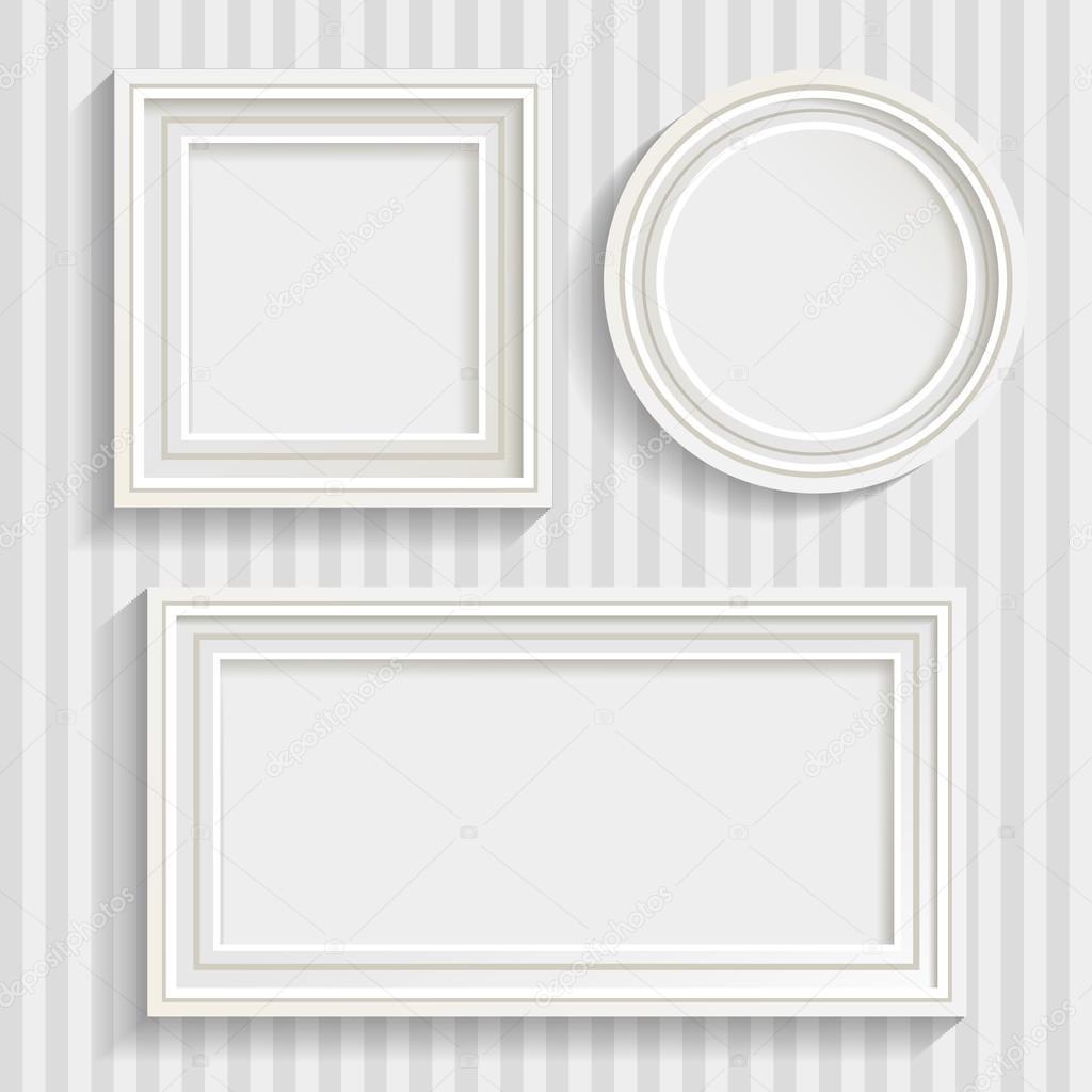 conjunto de tres cuadros blanco de diversas formas con las sombras en la ilustracin de vector de fondo de pared gris rayas u vector de mogil