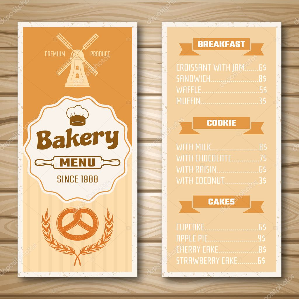 Bakery shop menu stock vector mogil 128556328 bakery shop menu with mill at cover and product price list on wooden background isolated vector illustration vector by mogil thecheapjerseys Images
